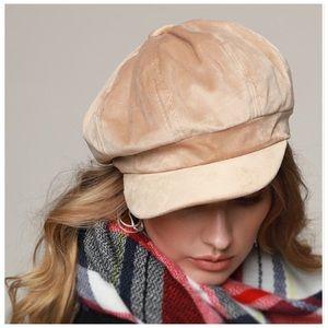 Classic Velvet Newsboy Hat Cap Tan NWT